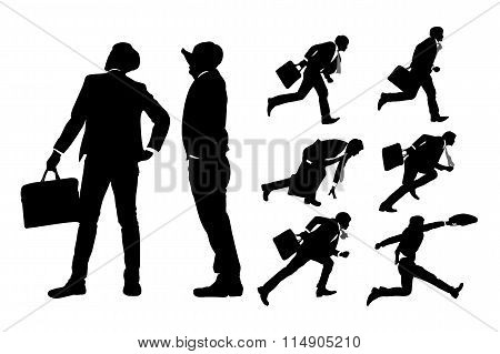 Happy Jump And Running Businessmen