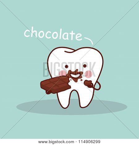 Cartoon Tooth With Chocolate