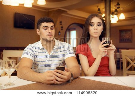 Curious Girl Spying Boyfriend on Smartphone
