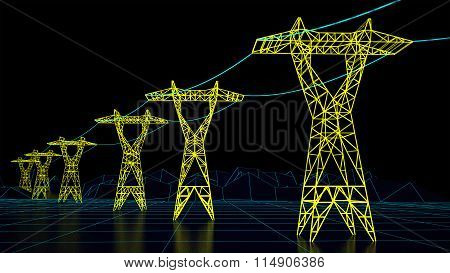 futuristic electrical pylons with power lines