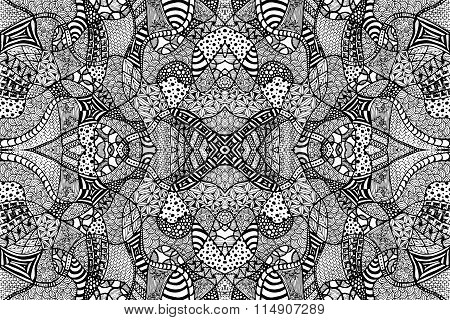 Zentangle Background Hand Drawn Black White Lines 1