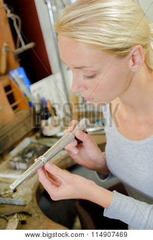 Jeweller in her workshop