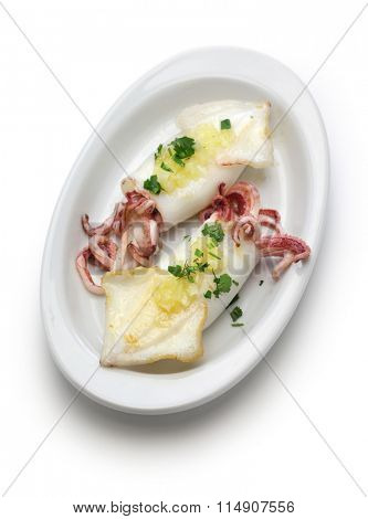 calamari a la plancha, grilled squid, spanish food isolated on white background