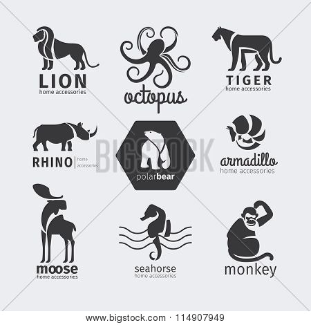Black silhouette animals vector logos