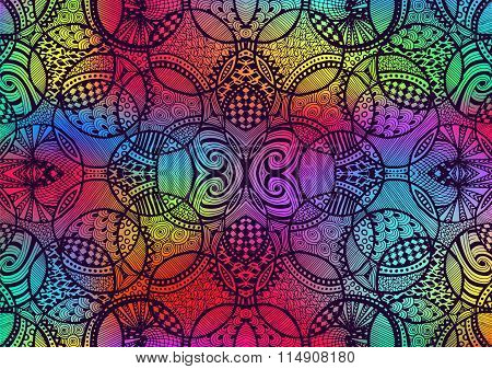 Zentangle Background Hand Drawn Colorful Circles