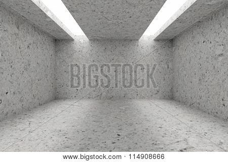Empty Room With Spotted Concrete Walls And Opening In Ceiling
