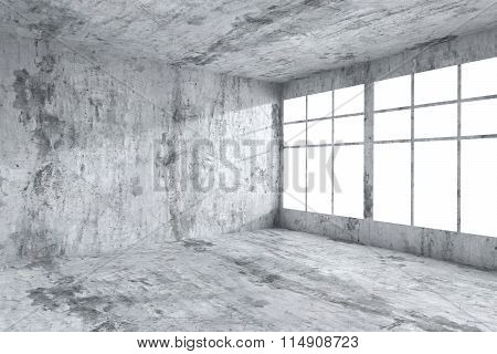 Empty Concrete Room Corner With Windows, Abstract Interior