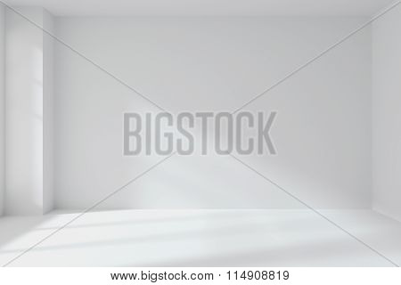 Empty White Room Wall With Corner Interior