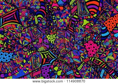 Zentangle Background Hand Drawn Colorful Lines