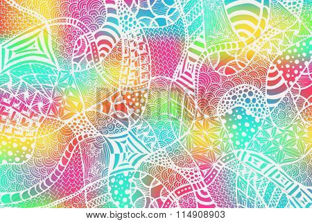 Zentangle Background Hand Drawn White Colorful 1