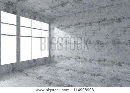 Empty Concrete Room Corner With Windows Interior