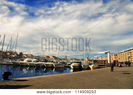 France, Marseille -november 19, 2015: Old Port (vieux-port). Marseille Is France's Largest City