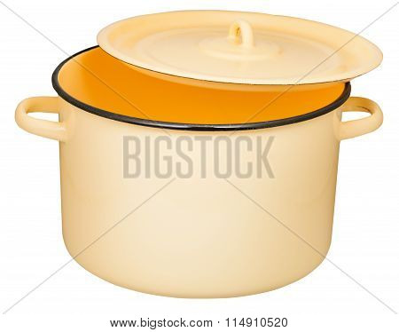 Classic Enamel Stockpot With Slightly Ajar Cover