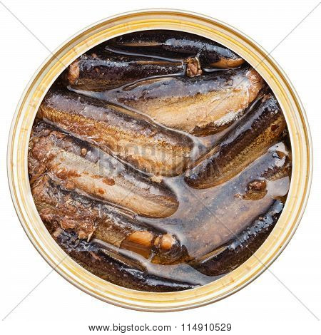 Top View Of Tinned Smoked Sprats Fish In Tin