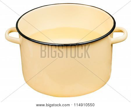 Classic Big Yellow Enamel Stockpot With Water