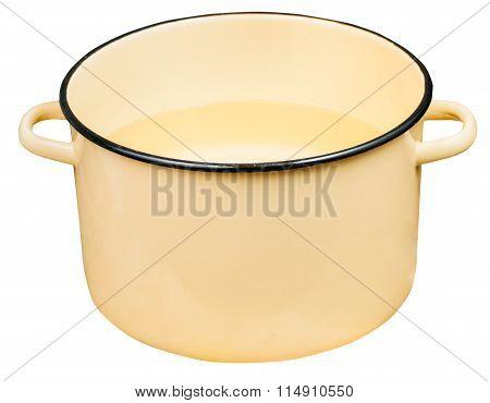 Classic Big Yellow Enamel Stockpot With Water