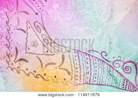 Hand Drawing Abstract Pattern On Silk Batik