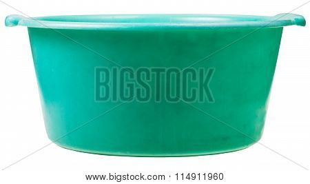 Side View Of Old Green Plastic Round Wash Basin