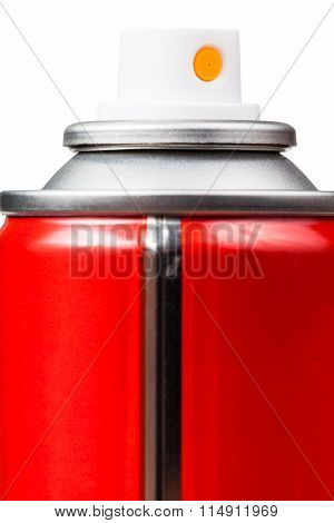 Red Aerosol Can Close Up Isolated On White