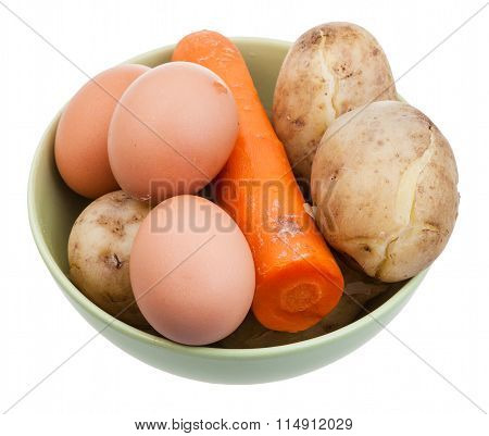Boiled Eggs, Carrot And Potatoes In Ceramic Bowl