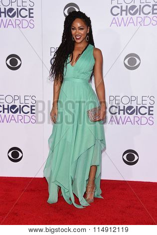 LOS ANGELES - JAN 06:  Meagan Good arrives to the People's Choice Awards 2016  on January 06, 2016 in Hollywood, CA.