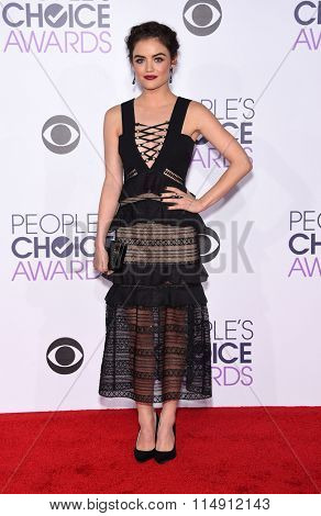 LOS ANGELES - JAN 06:  Lucy Hale arrives to the People's Choice Awards 2016  on January 06, 2016 in Hollywood, CA.