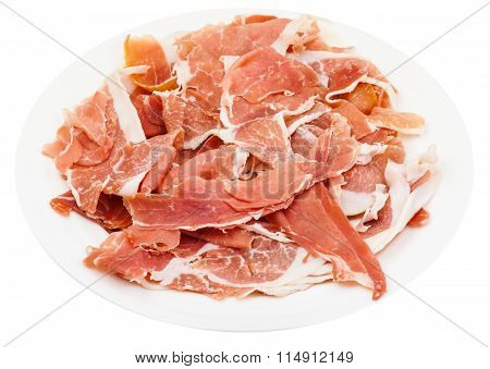 Thin Sliced Dry-cured Ham On White Plate Isolated