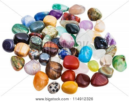 Various Gemstones On White Background