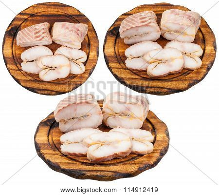 Set Of Boards With Hot Smoked Sturgeon Isolated