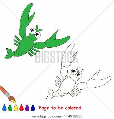 Crawfish in vector cartoon to be colored.