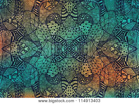 Zentangle Background Hand Drawn Retro Gold Green