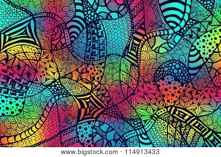 Zentangle Background Hand Drawn Rainbow Lines