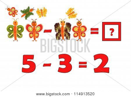 Illustration Of Education Mathematics For Preschool Children. The Figures Are Made Of Fruits