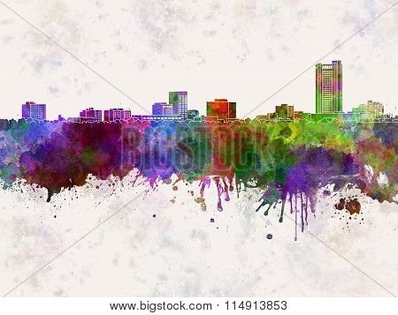 Amarillo Skyline In Watercolor Background