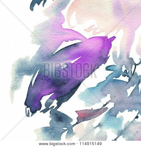Abstract Background For A Card. Watercolor Painting. Handmade. Paint Spots. Cold Gamma.