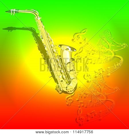 musical background Saxophone and waves of musical notes