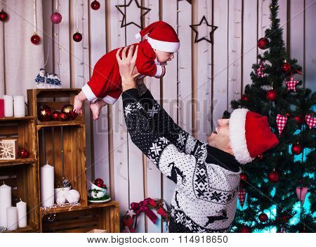 Father And Little Boy In Santa Hat  Christmas Gifts, Christmas Concept