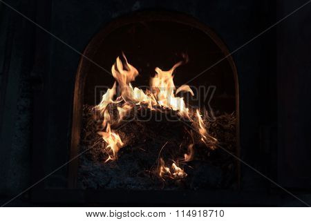 Burning Stove With Fire And Blaze