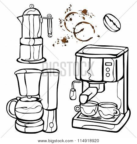 Coffee machine. Coffee pot and coffee cup. Coffee stains. Coffee splashes. Coffee bean. Isolated obj