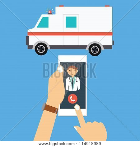 call ambulance car doctor mobile phone emergency