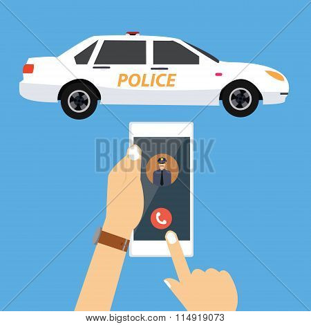 call police car via mobile phone emergency