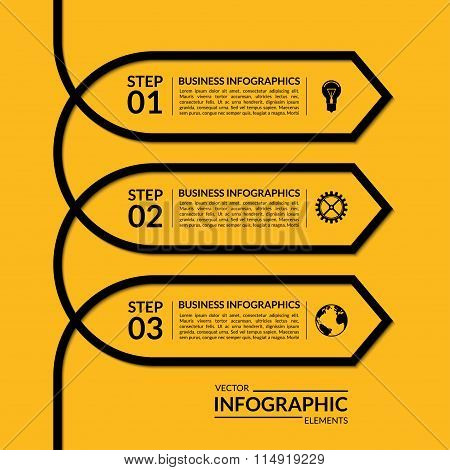 Simple infographic arrow template. Vector banner with 3 steps, parts, options stages. Abstract backg