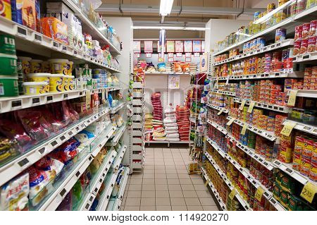 SINGAPORE - NOVEMBER 07, 2015: interior of grocery store in Singapore. Singapore is a leading global city in Southeast Asia and the world's only island city-state.