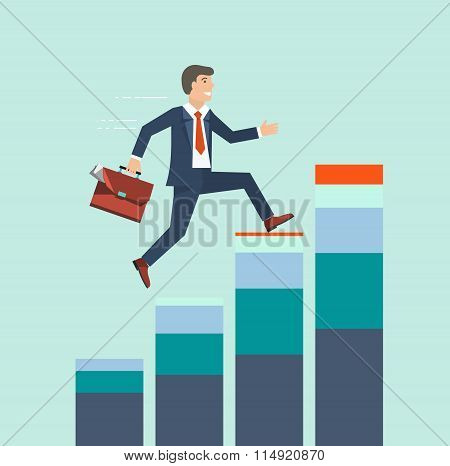Businessman Climbing Rising Stock To Success Vector Concept. Bus