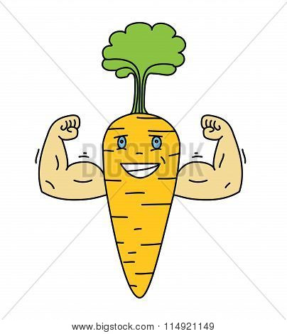 Cartoon Carrot Vegetable Character With A Smiling Face And Big H