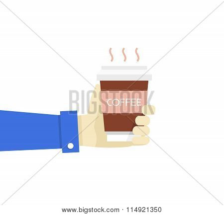 Vector Illustration Hand Holding Disposable Coffee Cup. Flat Sty