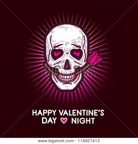 Humorous Gloomy And Grim Postcard For Valentine's Day And Valentine's Night With Skull.