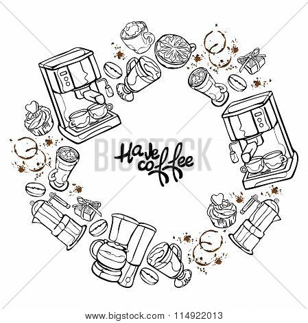 Coffee machine. Coffee pot and coffee cup. Coffee stains. Coffee splashes. Coffee dessert. Frame