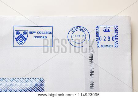 Postage Envelopes Elements From The New College Of Oxford