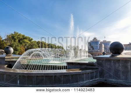 Fountain in square of Peter the Great. Lipetsk